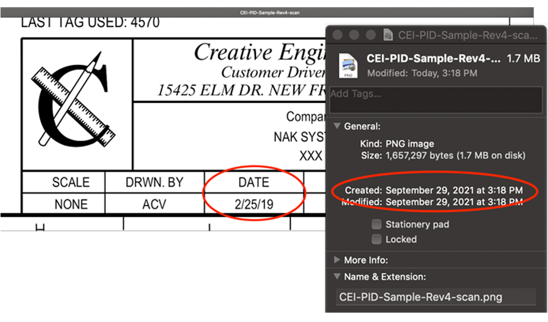 Revision date in file is 2019, file metadata creation year is 2021